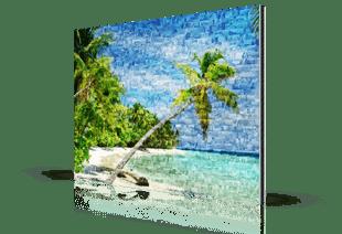 foto mosaico spiaggia_stampato su alluminio dibond