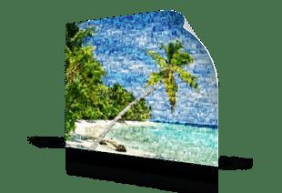 foto mosaico spiaggia_stampato su poster