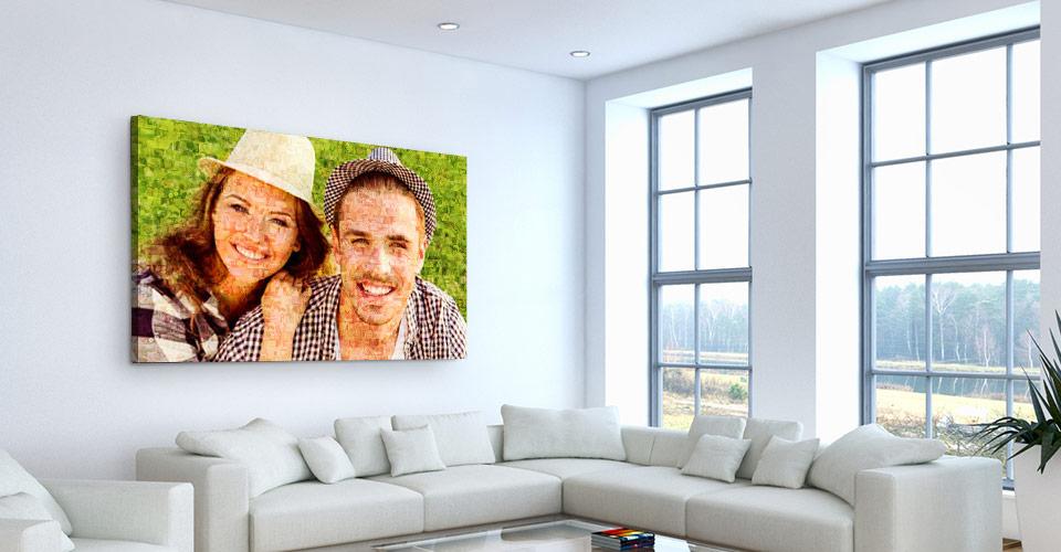 foto mosaico stampato su tela in soggiorno_esempio coppia
