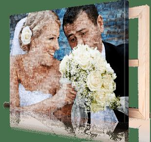 foto mosaico stampato su tela_esempio sposi mazzolino