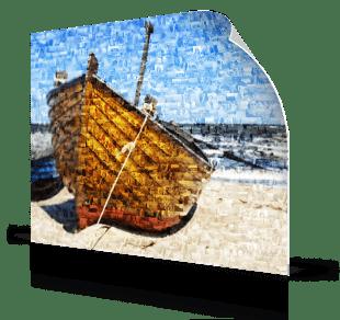 foto mosaico su poster_esempio barca in spiaggia