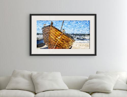 foto mosaico su poster_esempio barca_sopra divano