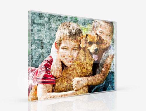 fotomosaico su plexiglass_esempio bambini con cane