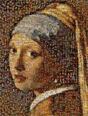 Foto mosaico _oggetto arte_ragazza con orecchino perla