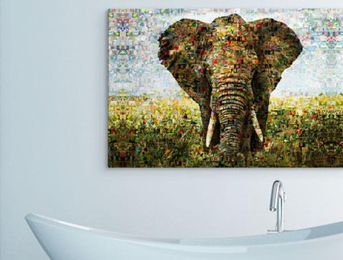 soggiorno mosaico alluminio elefante