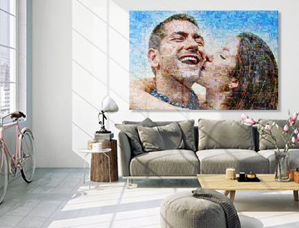 soggiorno mosaico tela coppia