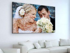 soggiorno_fotomosaico su tela_esempio coppia sposi con fiori