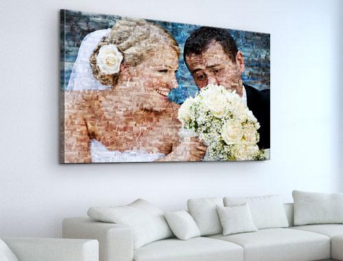 fotomosaico su tela_esempio coppia sposi con fiori